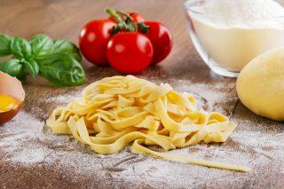 sliced homemade noodles